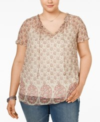 Lucky Brand Plus Size Paisley Print Peasant Top Pink Multi