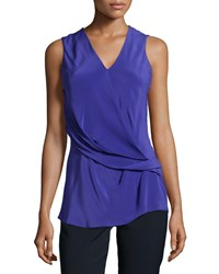 Natori Gathered Sleeveless Blouse Cobalt