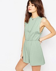 Asos Drop Armhole Jersey Playsuit With Pom Poms Mint Green