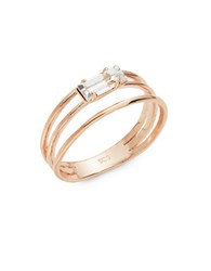 Bing Bang Triple Band Swarovski Crystal Baguette Ring Rose Gold