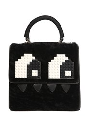 Les Petits Joueurs Mini Alex Eyes Shearling And Leather Bag