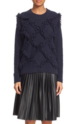 Rebecca Taylor Women's Fringe Pullover Sweater Navy