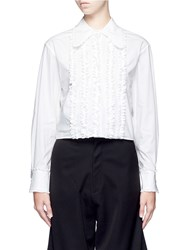 Chictopia Ruffled Front Cotton Poplin Shirt White