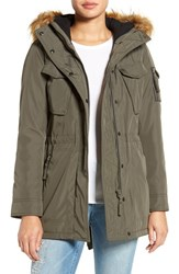 S13 Nyc Women's 'Field' Parka With Faux Fur Trim Hood Military