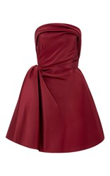 Oscar De La Renta Strapless Silk Faille A Line Dress Burgundy