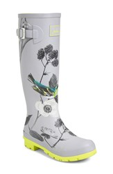 Joules Women's 'Welly' Print Rain Boot Silver Birdberry