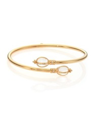 Temple St. Clair Bellina Classic Rock Crystal Diamond And 18K Yellow Gold Bypass Bangle Bracelet