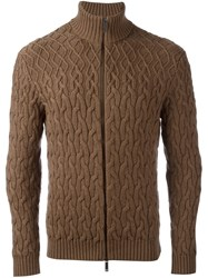 Etro Cable Knit Cardigan Brown