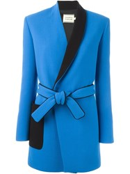 Fausto Puglisi Two Tone Belted Coat Blue