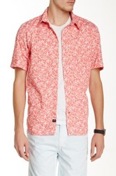 Benson New York Floral Print Relaxed Fit Short Sleeve Shirt Red