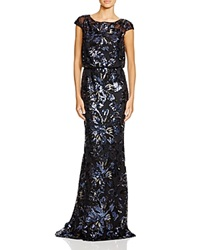 Badgley Mischka Cap Sleeve Sequin Blouson Gown Black Navy