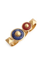 Tory Burch Semiprecious Stone Three Finger Ring Multi Gold