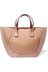 Victoria Beckham Tulip Large Croc Effect Leather Tote Sand