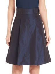 Akris Punto Iridescent Belted A Line Skirt Navy