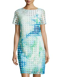 Julia Jordan Dotted Overlay Short Sleeve Dress Green Multi