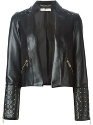 Versace Collection Studded Leather Jacket Black