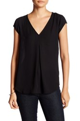 Daniel Rainn Short Sleeve V Neck Blouse Petite Black