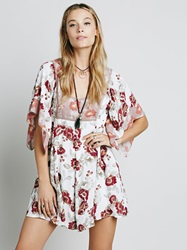 Free People Madam Printed Mini Dress Tea Combo
