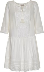Soaked In Luxury Cotton Peasant Style Dress White