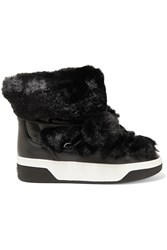 Michael Michael Kors Nala Textured Leather And Faux Fur Boots Black