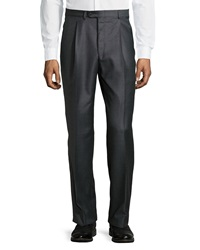 Hickey Freeman Worsted Wool Trousers Gray