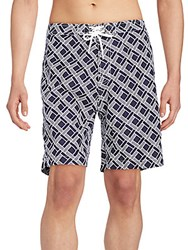 Saks Fifth Avenue Red Geometric Print Swim Trunks Blue