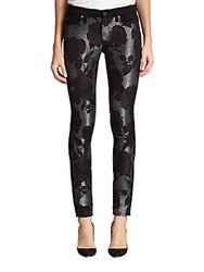 7 For All Mankind Floral Print Shantung Paneled Skinny Jeans Black