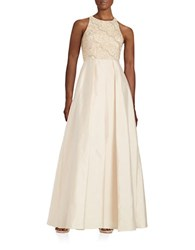 Adrianna Papell Embellished Sleeveless Gown Light Champagne