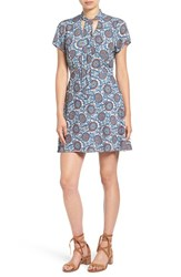 Women's Bp. Tie Neck Fit And Flare Dress Blue Wing Madallion