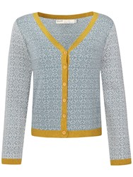 Seasalt Wheelthrown V Neck Cardigan Tile Jacquard Sea