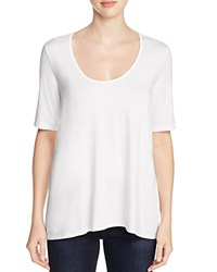 Three Dots Scoop Neck High Low Tee White