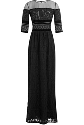 Alberta Ferretti Floor Length Dress With Lace Black