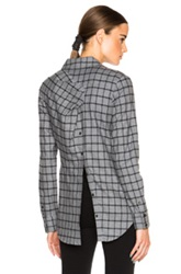Thakoon Addition Open Back Shirt In Gray Checkered And Plaid
