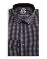English Laundry Gingham Woven Dress Shirt Black