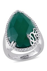 Julianna B Fine Jewelry Sterling Silver Pear Cut Green Onyx And Diamond Ring