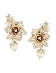 Marchesa Floral Faux Pearl Accented Earrings Gold