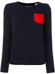Chinti And Parker Contrast Pocket Sweater Blue