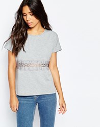 Vero Moda Short Sleeve Top With Lace Panel Grey