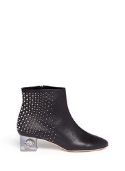 Alexander Mcqueen Floating Skull Heel Stud Leather Boots Black