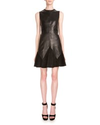 Givenchy Sleeveless Leather And Suede A Line Dress Black