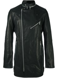 Diesel Black Gold Mid Length Flared Biker Jacket Black