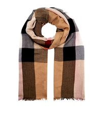 Burberry Shoes And Accessories Sheer Check Scarf Female Brown