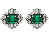 Dannijo Athena Earrings Ox Silver Clear Emerald Earring Green