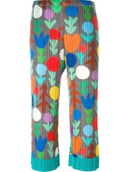 Pleats Please By Issey Miyake Pleated Stylized Print Trousers Multicolour