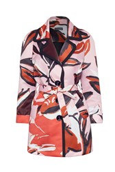 James Lakeland Abstract Print Coat Pink