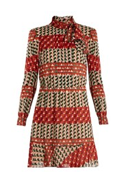 Red Valentino Heart Print Silk Blend Dress Multi