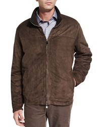 Peter Millar The Arno Cashmere Lined Suede Jacket Dark Brown