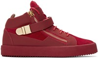 Giuseppe Zanotti Red Suede London High Top Sneakers