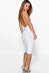Boohoo Renee Backless Strappy Bodycon Dress White