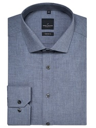 Daniel Hechter Chambray Washed Cotton Tailored Shirt Blue